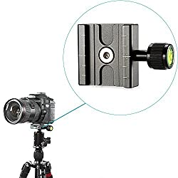 Neewer® Aluminium 50mm Quick Release Plate QR Clamp 3/8-inch with 1/4-inch Adapter and Built-in Bubble Level for Benro Acratech Kirk Wimberley Gitzo Manfrotto RRS Arca Swiss and Other Arca-Style Quick Release Plate