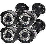TMEZON 4個 AHDカメラ ハイビジョン 監視カメラ 130万高画素 30m赤外線監視距離 赤外線LED36個 屋外設置 黒い