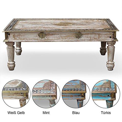 Couchtisch-Wohnzimmertisch-Tisch-Holztisch-Hart-Holz-Mango-Messing-Indien-45-cm-Landhaus-Antik-Creme