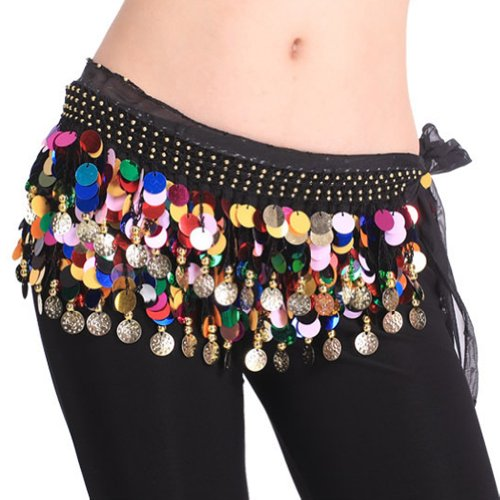 BellyLady Belly Dance Hip Scarf With Paillettes, Gold Coins Lively Style BLACKWITHCOLRFULPAILLETTES