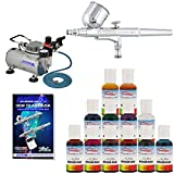Master Airbrush Cake Decorating Airbrush Kit with .5 Oz Food Color Set with Airbrush Depot 1 Year Warranty TankAir Hose Setless Compressor and 6 Foot ~ Master Airbrush