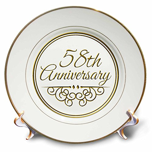 3dRose cp_154500_1 58Th Anniversary Gift Gold Text for Celebrating Wedding Anniversaries 58 Years Married Together Porcelain Plate, 8-Inch