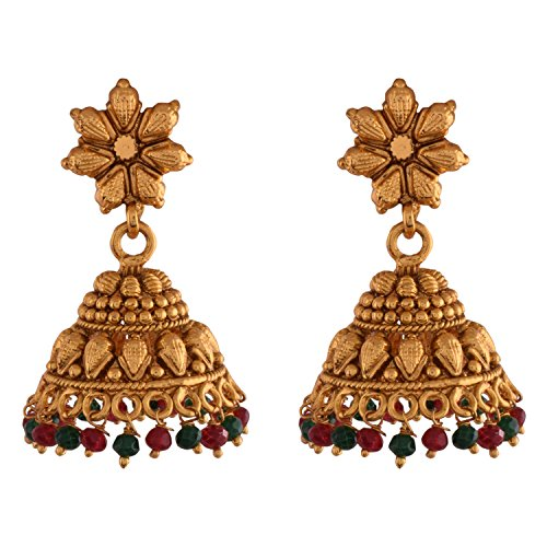 Ganapathy Gems 1 Gram Gold Plated Jhumki With Red And Green Drops (8391)