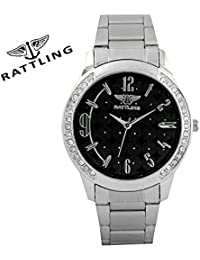 Rattling IND-9710WM01 Black Dail And Silver Chain Analogue Watch For Women And Girls