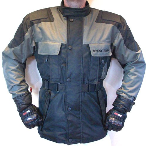 MAX MPH STORM Textile Cordura Motorcycle, Scooter Jacket - armour, waterproof  &  breathable (Charcoal/Black)