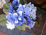 Artificial Potted Hydrangea Blue White or Purple Flowers in a Pot Memorial or Grave Flowers (Blue)