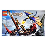 Lego Year 2005 Vikings Series Collectible Set # 7016 - Viking Boat Against The Wyvern Dragon With 2 Viking Warrior...