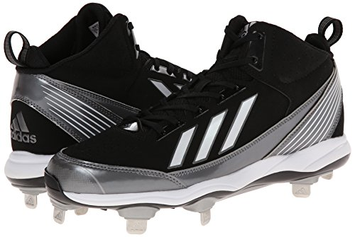 pictures of adidas Performance Men's PowerAlley Metal Mid Baseball Cleat, Core Black/Running White/Neo Iron Metallic F, 11 M US