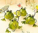 【Amateras】幸運をもたらす 4匹の小さなカエル プチ 置物 プレゼント インテリアとしても最高 ブリキ で作られた かわいい 蛙 の オブジェ (葉、網、花、蝶) 【AM126】