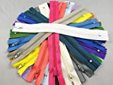 YAKA 54pcmix Nylon Coil Zippers Tailor Sewer Craft 9 Inch Crafter's Special