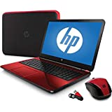 "HP Flyer Red 15.6"" 15-G227WM Laptop PC Bundle with AMD Quad-Core A6-5200 Processor, 4GB Memory, 500GB Hard Drive and Windows 8.1"