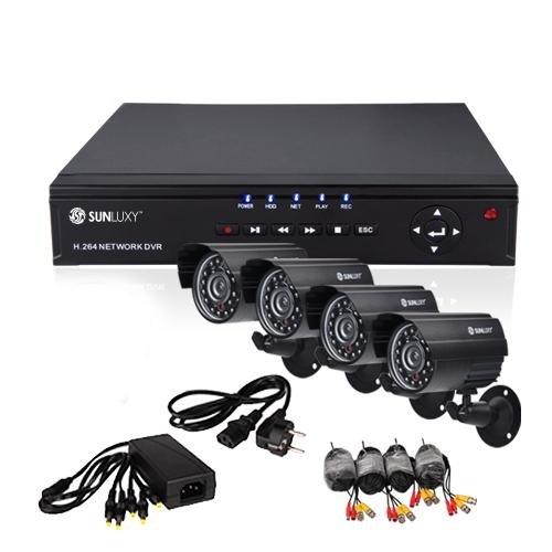 SUNLUXY® 8CH CCTV H.264 DVR Videoüberwachung 4x 420TVL CMOS Wetterfest Nachtsicht IR Outdoor Überwachungskamera Sicherheitssystem Set
