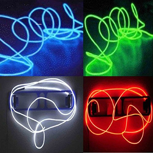 TopYart Neon LED Light Glow EL Wire Battery Pack String Strip Rope Tube Car Dance Party + Controller (15ft, Red+White+Green+Blue)