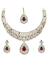 YoFashion Bridal Choker Dew Drop Gold Plated American Diamond Red Green Necklace Earring Maang Tika Set For Women