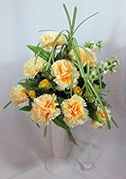 Yellow Carnation Memorial Vase Arrangement