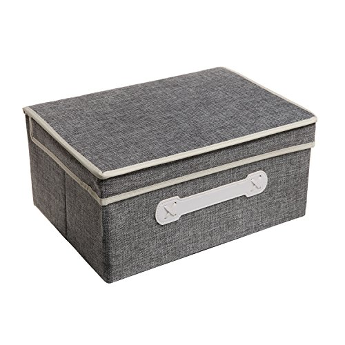 Decorative Gray Woven Collapsible Fabric Lidded Shelf Storage Bin / Closet Organizer Box Basket - MyGift®