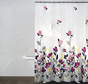 Dkny Fabric Shower Curtain Purple Pink Gray Yellow Floral Watercolor Fields Multi