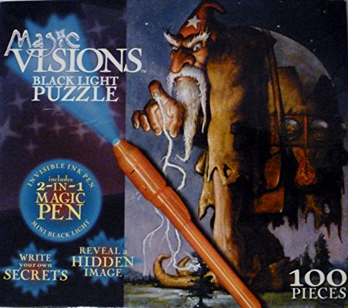 Magic Visions 100 Piece Black Light Puzzle - Giant Wizard with Magic Pen