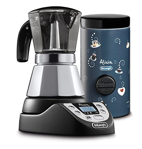 De 'Longhi emkp42.b Alicia Plus Electric Coffee Maker - Silver Alicia Plus + Coffee Measurer black/blue