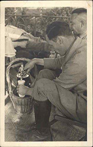 Man Getting A Drink Coffee & Tea Original Vintage Postcard