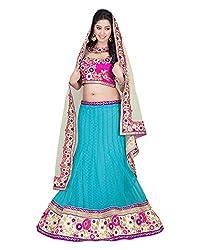 Khodiyar Creation Women's Net Lehenga Saree (Blue)