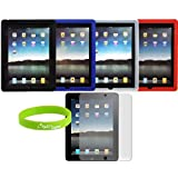 CrazyOnDigital Accessories Silicon Skin Case Covers for iPad 3rd Gen 2012 Model and Apple iPad 2 / iPad 3 3rd Generation / iPad HD AT&T Verizon 4G LTE - Black Blue Clear Red ~ CrazyOnDigital