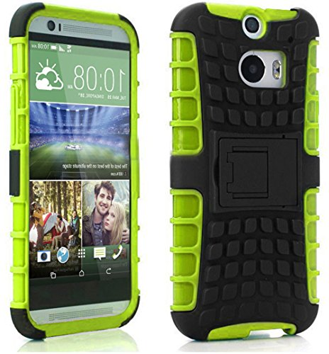 Mylife Lime Green + Black {Rugged Design} Two Piece Neo Hybrid (Shockproof Kickstand) Case For The All-New Htc One M8 Android Smartphone - Aka, 2Nd Gen Htc One (External Hard Fit Armor With Built In Kick Stand + Internal Soft Silicone Rubberized Flex Gel