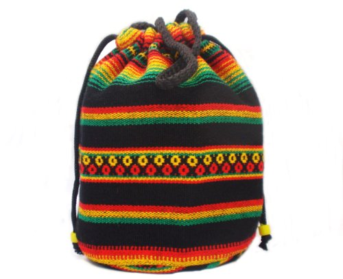 Rasta Colour Hippie Hobo Drawstring Tote Bag Handbag Travel Companion