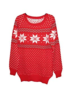 CHRISTMAS Sweater / Cardigan, with Various Lovely Patterns of Reindeer / Snowman / Snowflakes / Tree (S/M (Tag: S), Snowflake-Red)