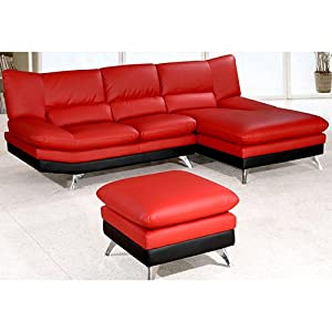 Amazoncom red leather sectional sofa and ottoman for Red leather sectional sofa with ottoman