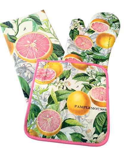 Michel Design Works Tea Towel, Oven Mitt, Pot Holder Set (Pink Grapefruit) (Hot Tub Robe Tree compare prices)