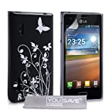 LG Optimus L5 E610 Case Floral Butterfly Hard Cover - Black / Silver