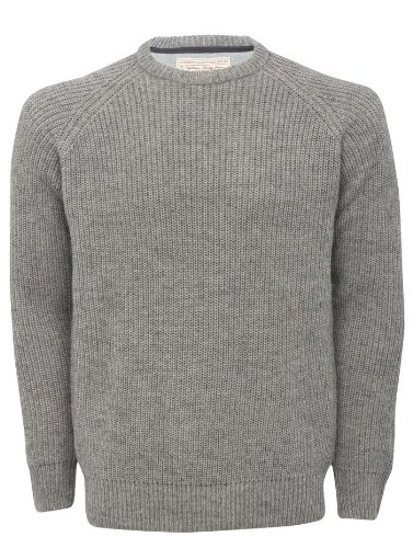 Mens Fisherman Crew Neck Chunky Knit Jumper Light Grey Marl S
