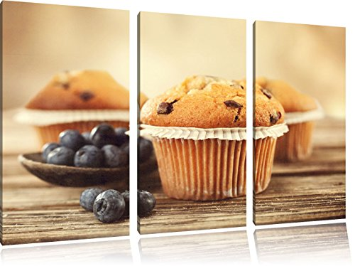 Muffins aux pépites de chocolat et bleuets 3-piece Canvas Art 120x80 image on canvas, XXL huge Pictures completely framed with stretcher, Art print on wall picture with frame, gänstiger as a painting or an oil painting, not a poster or banner
