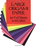 "Large Origami Paper : 24 9"" X 9"" Sheets in 12 Colors"