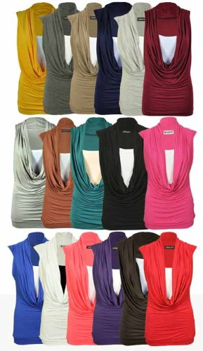 New Ladies Sleeveless Insert Womens Stretch Cowl