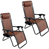 Arksen 2 Pack Zero Gravity Patio Lounge Chairs+Cup Holder Utility Tray (Brown)