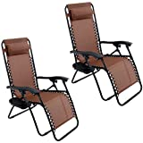 ARKSEN© 2-Pack Zero Gravity Chairs Patio Lounge +Cup Holder/Utility Tray (Brown)