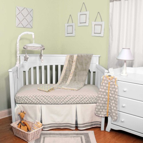 Safe Sleep Neutral 4 Piece Baby Crib Bedding Set By Just Born
