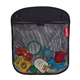 JENYYEN Baby Bath Tub Toys Organizer / Large Mesh Net Storage Bag for Toys Even as a Shower Caddy + 2 Strong Suction Cups (Black)