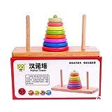 Highdas Torre de Hanoi por cerebro Desarrollo- del beb� de madera cerebro Teaser Toy intelectual Puzzle 8 Anillos
