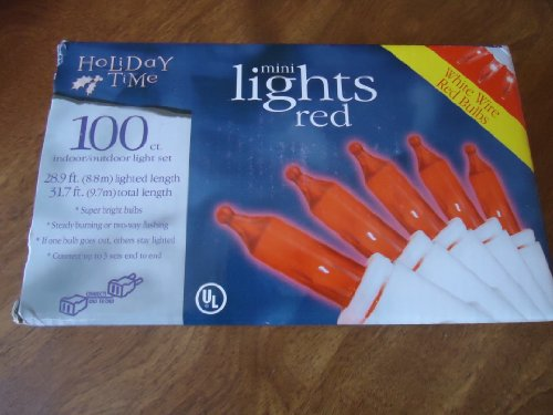 Holiday Time 100 Ct Mini Lights - Red Bulbs With White Wire - Indoor/Outdoor