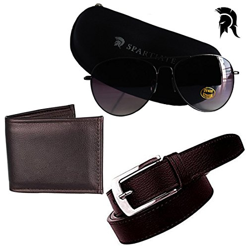 Elligator Spartiate 100% UV Protection Aviator Sunglass With Belt & Wallet For Men Combo (One Belt,One Wallet,One Spartiate Sunglass)
