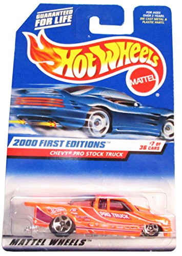 Hot Wheels - 2000 First Editions - Chevy Pro Stock Truck - Neon Orange - Collector #067 - 7/36 - Die Cast - Limited Edition - Collectible 1:64 Scale - 1