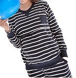 お洒落 授乳口付 ルームウェア パジャマ 授乳服 長袖 ボーダー シンプル レディース (L, ネイビー)