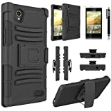 ZTE Warp Elite Case, Combo Rugged Shell Cover Holster with Built-in Kickstand and Holster Locking Belt Clip Black + Circle(TM) Stylus Touch Screen Pen And Screen Protector