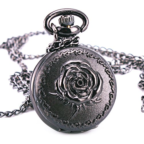 Vintage-Retro-Antique-Victoria-Black-Gothic-Rose-Emboss-Pocket-Watch-Pendant-Long-Chain-Necklace