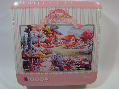 Feminine Florals 1000 Piece Jigsaw Puzzle in Tin: Peaceful Retreat