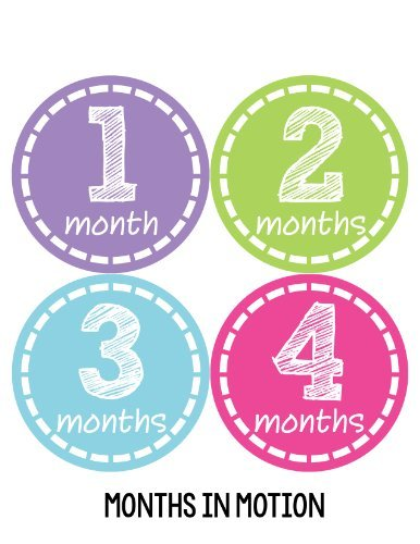 Months in Motion 180 Monthly Baby Stickers Milestone Age Sticker Photo Prop Newborn Girl
