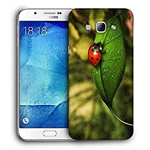 Snoogg Beatel And White Flower Printed Protective Phone Back Case Cover For Samsung Galaxy A8